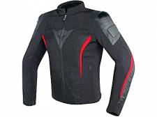 MIG LEATHER-TEX JACKET BLACK/RED DAINESE