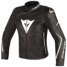 ASSEN LEATHER JACKET BLACK/BLACK/WHITE DAINESE