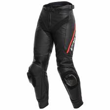 DELTA 3 LEATHER PANTS BLACK/BLACK/FLUO-RED DAINESE