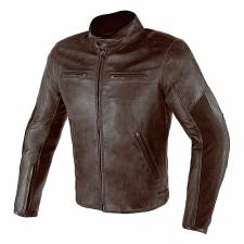 STRIPES D1 LEATHER JACKET DARK BROWN DAINESE