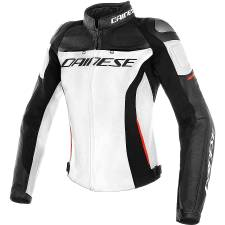 RACING 3 LADY LEATHER JACKET WHITE/BLACK/RED DAINESE
